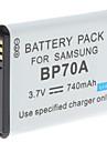 Video Digital de substituicao de bateria Samsung BP70A para Samsung TL105 e Mais (3.7V, 740 mAh)