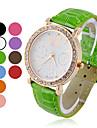 quadrante bianco orologio da donna rotonda zircone quarzo analogico (colori assortiti)