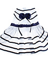 Dog Dress White / Blue Dog Clothes Summer Stripe / Bowknot Birthday / Fashion