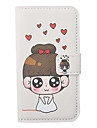 Cartoon Cute Girl Pattern Leather Hard Case for iPhone 4/4S