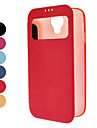 For Samsung Galaxy Case with Windows / Flip Case Full Body Case Solid Color PU Leather Samsung S4