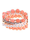 Lureme®Alloy Pearl Zircon Bead Bracelet Set(Assorted Colors)
