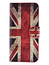 For iPhone 5 Case Card Holder / Flip Case Full Body Case Flag Hard PU Leather iPhone SE/5s/5