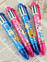 6 Color Cartoon Bear Pattern Ballpoint Pen