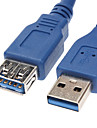 USB 3.0 Male to Female Extension Cable Blue (0.3M)