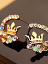 절묘한 최고 저속한 밝은 다이아몬드 다채로운 다이아몬드 왕관 귀걸이 E518