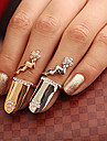 Gold Plated Shiny Flower Alloy Nail Ring(Random Color)