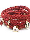 Z&X®  Plush leather multilayer elements love pearl pendant fashion leather cord woven bracelets