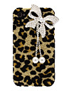Stylish Shining Leopard Print with Pearl Decorated Butterfly Style PC Hard Case for iPhone 4/4S
