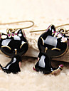 Women\'s 2013 Black Enamel cute little cat alloy earring E294