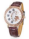 Women\'s Diamante Butterfly Pattern Dial PU Band Quartz Analog Wrist Watch (Assorted Colors)