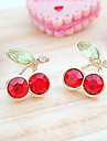 Women\'s Japanese And Korean Version Cute Red Cherry Crystal Earrings E96