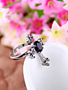 European And American Fashion Retro Black Gem Military Spend Cross Ring R718