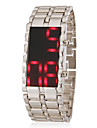Men\'s Red Led Digital Dial Steel Band Wrist Watch