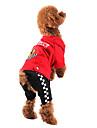Perros Abrigos / Saco y Capucha / Pantalones / Sudadera Rojo / Negro Ropa para Perro Invierno Deporte