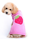 Dog Sweater / Clothes/Clothing Pink Winter Fruit
