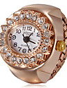 Kvinnors Diamante Round Dial Rose Gold Alloy Quartz Analog ring klocka