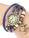 Women\'s Anchor Pendant Leather Band Quartz Analog Bracelet Watch (Assorted Colors)