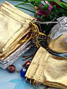 50pcs Gold & Silver 5x7cm com cordão Organza Saco