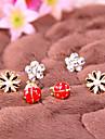 Fashion simple little daisy flowers ladybug diamond flower earrings E785