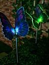 1 LED de luzes coloridas Estaca Luz LED luz solar de fibra optica da borboleta (2 pecas)