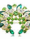 Сладостных 5.5cm женщин Золотого сплава кристалла Броши (зеленый, синий) (1 шт)