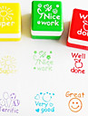 6pcs conjunto professor incentivar carimbo cartoon cute english ink pad