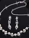 verzilverd bruids parel kristal oorbellen ketting
