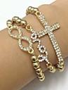 Fashion Set of 3 CCB Beads with Sideways Clear Rhinestone Love/Intersect /Infinity Shamballa  Candy Stretch Bracelet