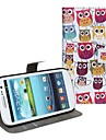 Nydelig tegnefilm Owl Pattern Faux Leather Flip Case-kort Slots & Closure for Samsung Galaxy S3 I9300