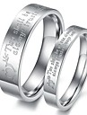 Anéis Couple Aço Classic Amantes inoxidável pedra mandril (2 Pcs)
