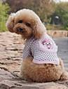 개 티셔츠 그린 / 핑크 강아지 의류 여름 도트 무늬