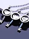 En forma de llave del regalo del amor personalizado joyeria del acero inoxidable grabado collar colgante con cadena de 60cm