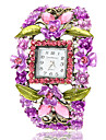 Kvinners Böhmen Stil Purple Flower Square Dial Bronze Alloy Quartz Bracelet Watch