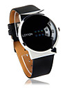 Black PU Leather Watchband Round Metal Gent Wristwatch