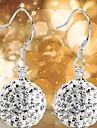 925 Silver White Czech Diamond Korean OL Style Women Drop Earrings