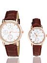 Couple\'s Round Dial PU Band Quartz Wrist Watch (Assorted Colors)