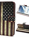 Retro USA Flag Pattern PU Leather with Plastic Cover Full Body Stand Case Cover for Samsung Galaxy Note 2 / II N7100