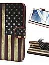 Retro bandeira dos EUA Padrao PU de couro com tampa plastica Full Body Stand Case Cover for Samsung Galaxy Note 2 / II N7100
