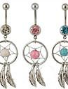 lureme®316l bague cristal dreamcatcher plume pendentif nombril en titane acier chirurgical (couleur aleatoire)