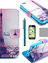 COCO FUN® Eiffel Tower In Night Pattern PU Leather Full Body Case with Screen Protector, Stylus and Stand for iPhone 5C