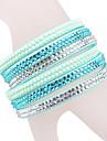bracelet en cuir multicouche lumière bracelet en strass bleu