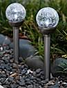 Ensemble de 2 Modification de la couleur solaire Crackle Boule en verre participation Lampe de jardin Lumiere