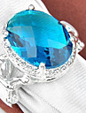Classic Moonstone Green Quartz Blue Topaz Gemstone Silver Ring 1PC