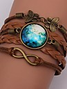Bracelet / Wrap Bracelet Galaxy Pattern Brown Leather Jewelry 1pc