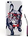 teste padrão legal filhote de cachorro estojo rígido&caneta de toque para iPhone 4 / 4S