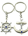 (A pair)Sails and Tiller Interesting High-grade Stainless Steel Keychain Symbol of Love