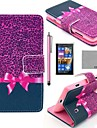 COCO FUN® Purple Leopard Pattern PU Leather Full Body Case with Screen Protector, Stylus and Stand for Nokia Lumia N520