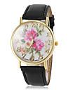 Women\'s Beautiful Flower Pattern Dial PU Band Quartz Wrist Watch(Assorted Colors)