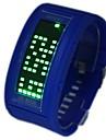 le vert des hommes conduit roulement affichage silicone montre bracelet (couleurs assorties)